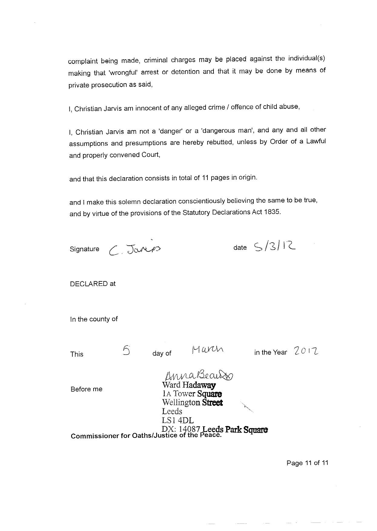 Statutory Declaration – The Jarvis Family